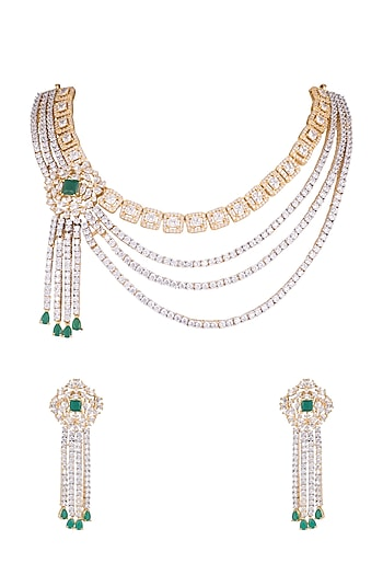 Gold Finish Faux Diamonds & Green Stone Necklace Set by Aster
