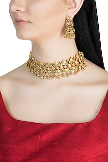 Gold Finish Antique Style Choker Necklace Set by Aster