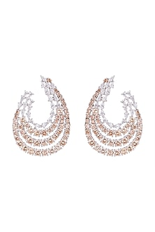 White FInish Faux Diamond & Champagne Stone Earrings by Aster