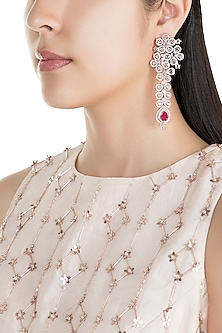 Rose Gold Finish Faux Diamonds & Red Stones Long Earrings by Aster