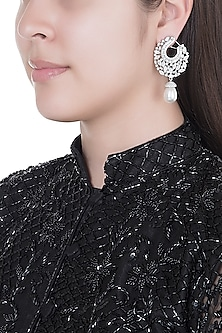 White Finish Faux Diamonds & Pearls Earrings by Aster