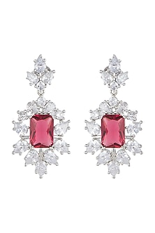 White Finish Faux Diamonds & Red Stone Earrings by Aster