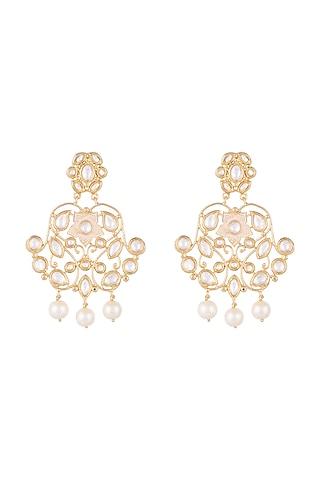 Gold Finish Faux Pearls & Kundan Enameled Earrings by Aster