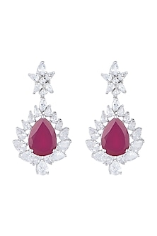 White Finish Red Stone & Faux Diamond Earrings by Aster