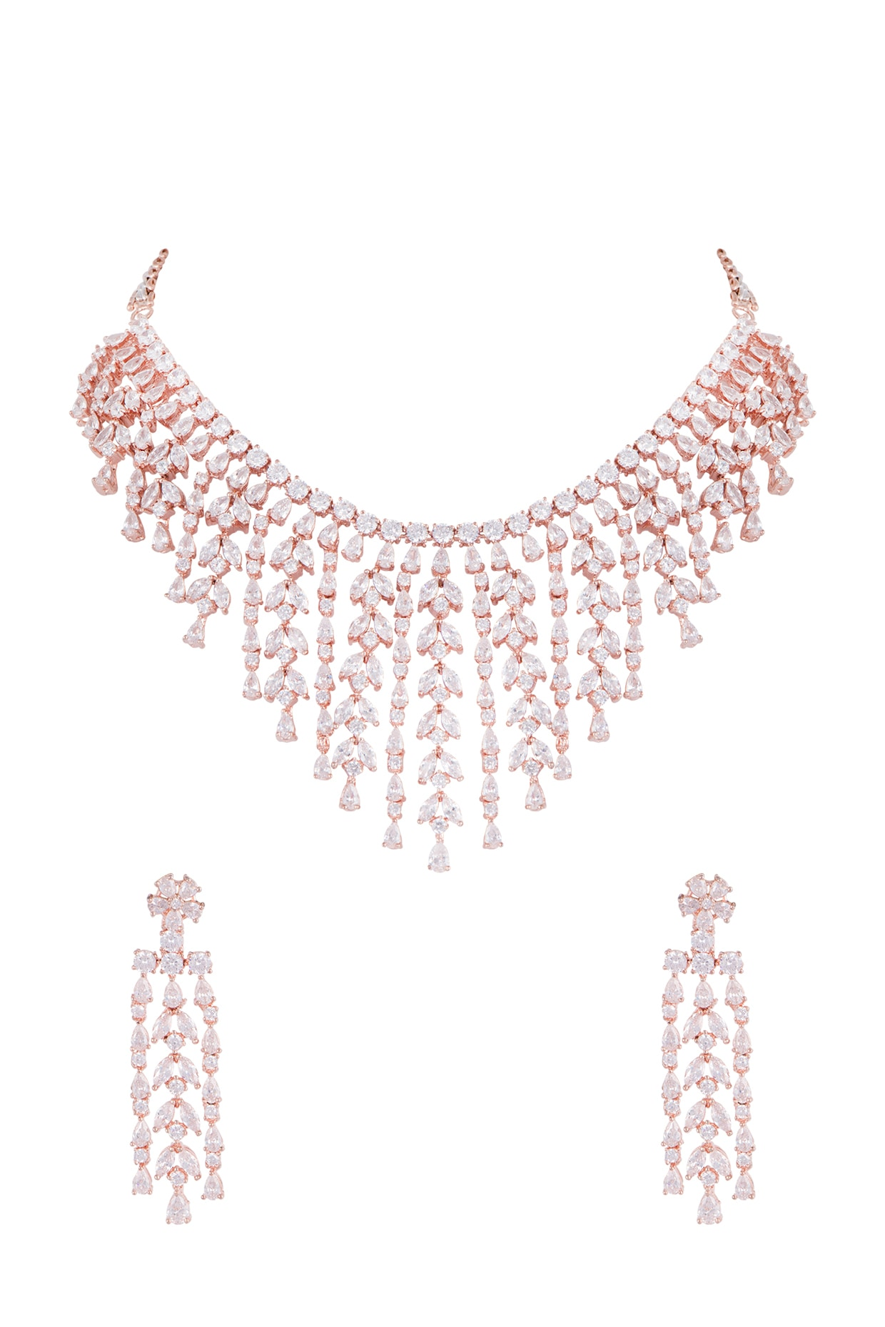 Rose Gold Finish Faux Diamond Necklace Set Design By Aster At Pernia S Pop Up Shop