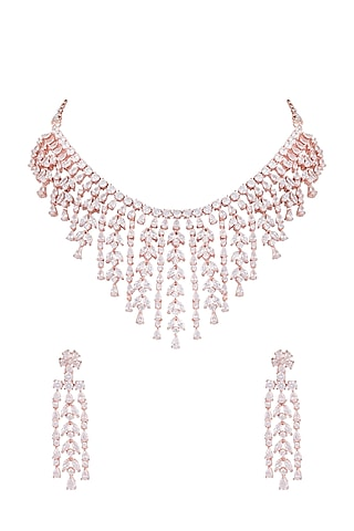 Rose Gold Finish Faux Diamond Necklace Set by Aster
