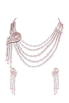 Rose Gold Finish Faux Diamond Layered Necklace Set by Aster