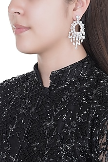 White Finish Faux Diamonds Earrings by Aster