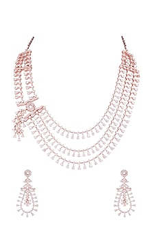 Rose Gold Finish Faux Diamonds Layered Necklace Set by Aster