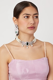 White Finish Pearl Choker Necklace Set by Aster