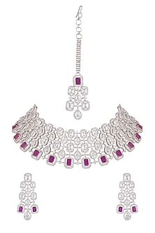 White Finish Diamonds & Stone Necklace Set by Aster