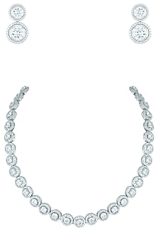 Silver plated faux diamond necklace set by ASTER-POPULAR PRODUCTS AT STORE