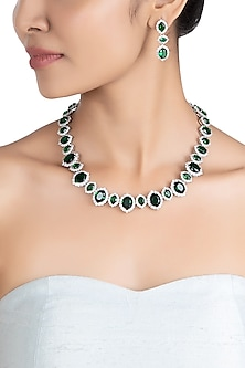 Silver plated faux emerald and diamond necklace set by ASTER
