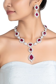 Silver plated faux ruby and diamond necklace set by ASTER