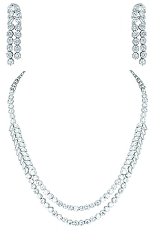 Silver plated double layered faux necklace set by ASTER