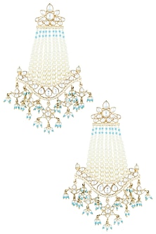 Gold plated turquoise dangler earrings by ASTER