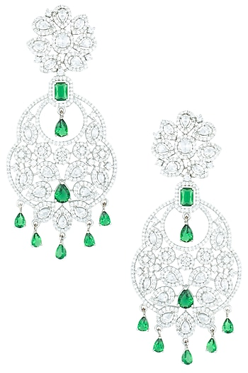 Silver plated zircon dangler earrings by ASTER