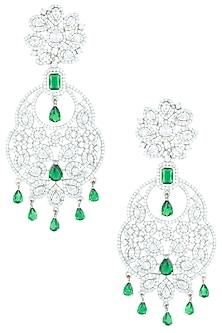 Silver plated zircon dangler earrings by ASTER