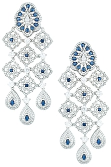 Silver plated faux sapphire earrings by ASTER