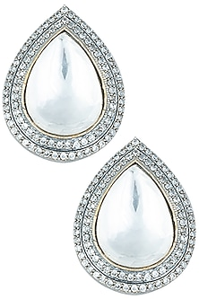 Silver plated kundan drop earrings by Aster-POPULAR PRODUCTS AT STORE