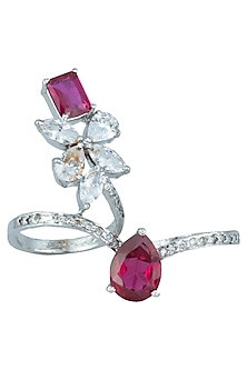 Silver plated faux diamond and ruby double finger ring by Aster