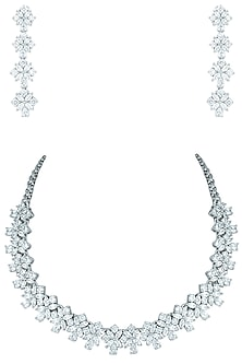 Silver plated faux solitaire diamond necklace set by ASTER