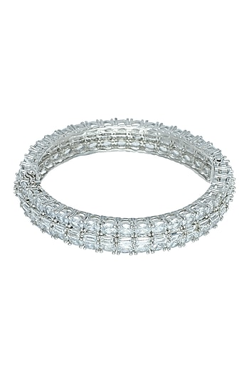 Silver plated faux baguette bangle by ASTER