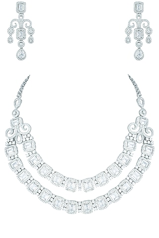 Silver plated faux diamond necklace set by Aster