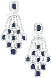 Silver plated faux diamonds and sapphire earrings by Aster