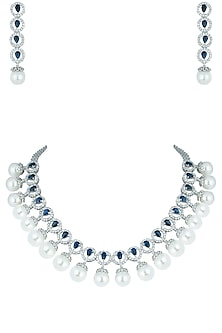 Silver plated faux diamonds and pearl necklace set by Aster