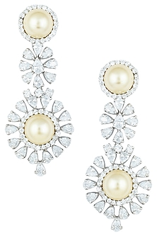 Silver plated yellow pearl and diamond faux earrings by ASTER