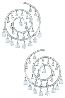 Silver plated spiral faux earrings by ASTER