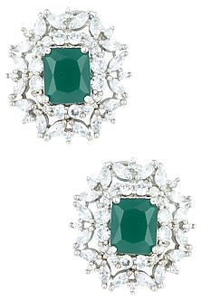 Silver plated faux emerald stud earrings by ASTER