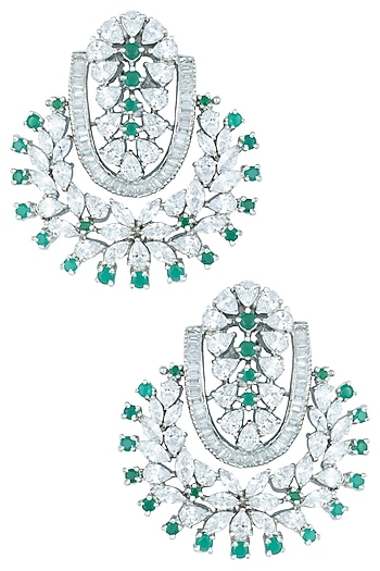 Silver plated emerald and diamond earrings by ASTER