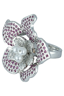 Silver plated floral zircon ring by ASTER