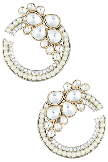 Silver plated kundan and pearl earrings by ASTER