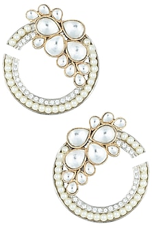 Silver plated kundan and pearl earrings by ASTER-POPULAR PRODUCTS AT STORE