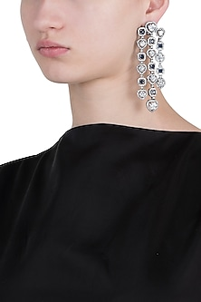 Rhodium plated faux diamond and sapphire dangler earrings by ASTER