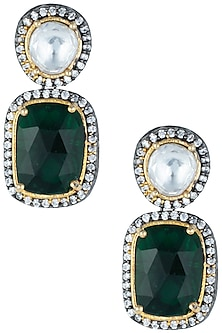 Silver plated kundan and emerald earrings by ASTER