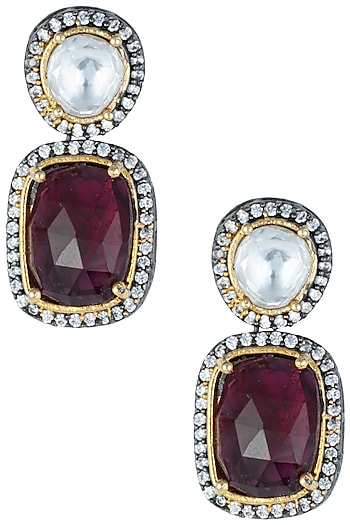Silver plated kundan and ruby earrings by ASTER