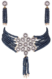 Rhodium plated faux diamond choker necklace set by ASTER