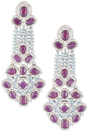 Silver plated faux ruby and diamond long earrings by ASTER