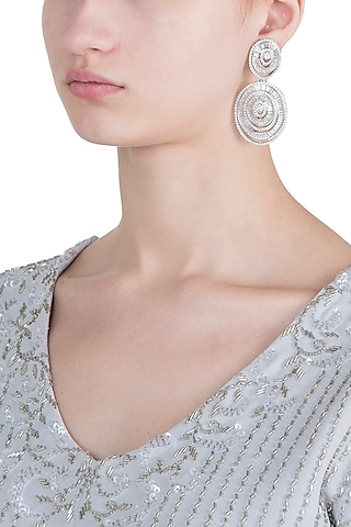 Silver plated faux diamond oval earrings by ASTER