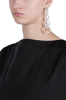 Silver plated faux diamond oval long earrings by ASTER