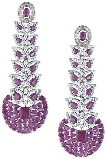 Silver plated faux diamond and ruby long earrings by ASTER