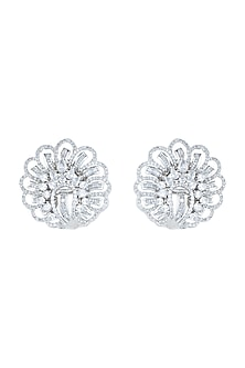 Silver plated faux diamond stud earrings by Aster