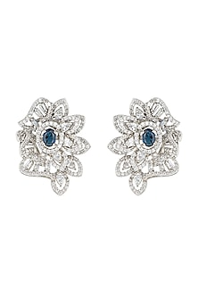Silver plated faux diamonds and sapphire stud earrings by Aster