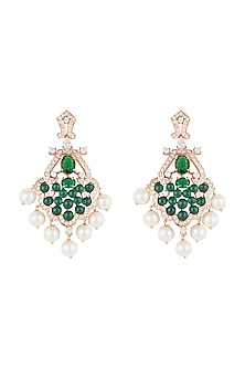 Silver plated faux emerald and diamond earrings by Aster