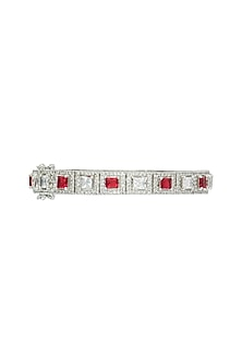 Set of 2 silver plated faux ruby and diamond bangle by Aster