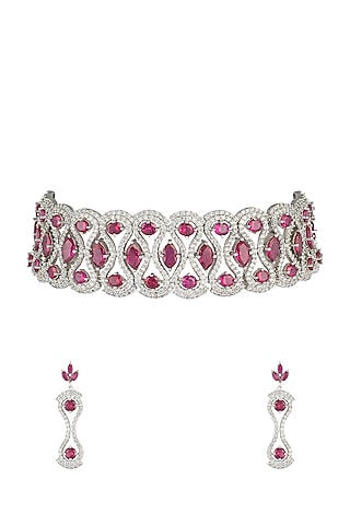 Silver plated faux ruby and diamonds necklace set by Aster